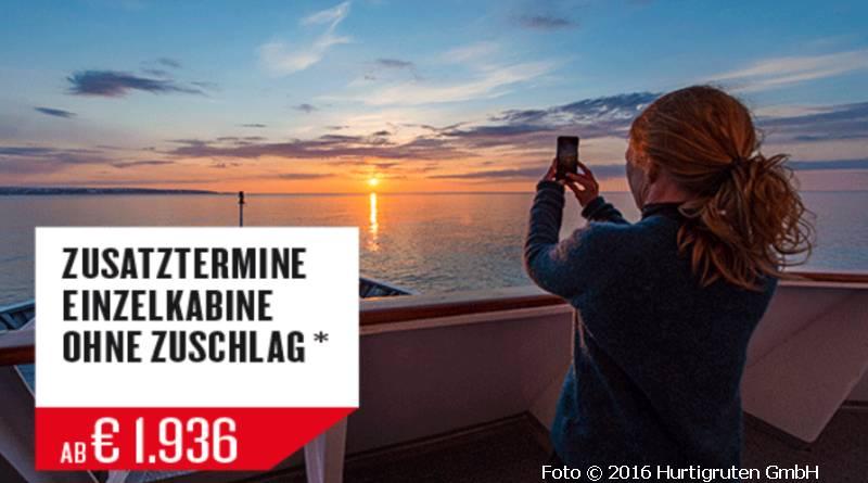 Hurtigruten Spar-Angebote für Alleinreisende