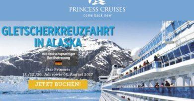 Alaska Gletscher Kreuzfahrt im Juli/August 2017