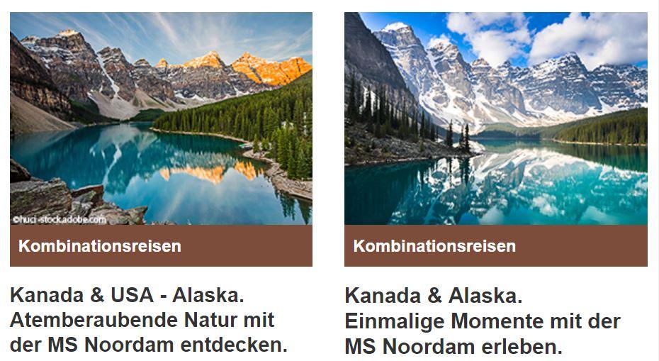 Berge & Meer Kanada Alaska Angebot