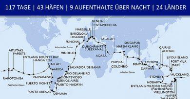 Weltreise 2022 – 117 Tage Traumurlaub auf See