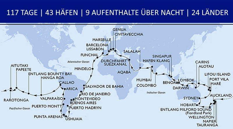 Karte Weltreise 2022
