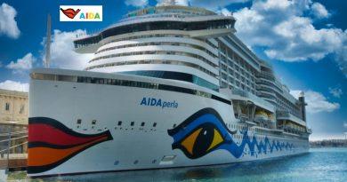 AIDAprima mit AIDA Logo