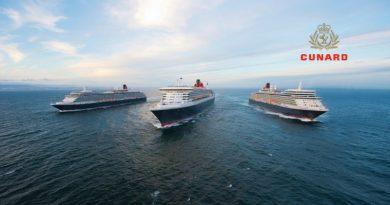 Cunard 3 Schiffe und Logo